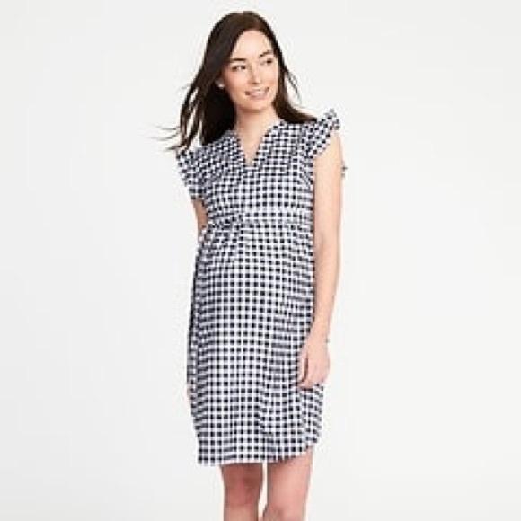 2ecb5dae5d4 Maternity Navy Blue Gingham Tie-Belt Shirt Dress